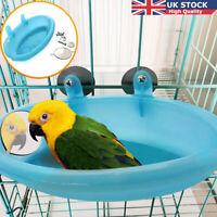 Mini Plastic Bird  Bath Basin With Mirror Pet Parrot Bathtub Birds Carrier NEW