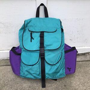 Vtg EMS Hiking Backpack Eastern Mountain Sports Teal Purple Nylon Day Pack Cinch
