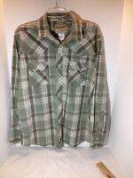 Wrangler Western Fashion Men's LG Shirt Pearl Snaps Plaid L/S Green Plaid
