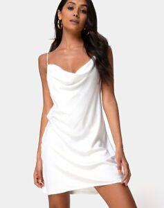 MOTEL ROCKS Paiva Slip Dress in Satin Ivory L Large (mr62)