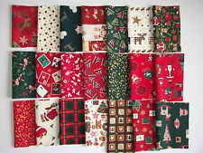CHRISTMAS FABRIC PATCHWORK QUILTING CRAFTS REMNANTS BUNDLE 100% COTTON SCRAPS