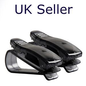 2x Car Sunglasses Ticket Card Holder Clip Eye Glasses Sun Visor Mount Case UK