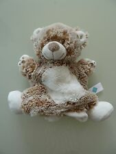 B8- DOUDOU PLAT MARIONNETTE TEX BABY OURS BLANC BEIGE MARRON CHINE - NEUF