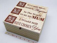 Gorgeous Mum Sentiment Vintage Look Wooden Keepsake-Memory-Trinket Box