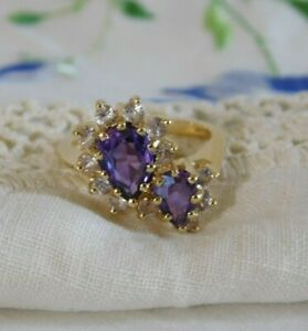 Purple Amethyst 14k Yellow Gold Ring, Signed 14K Tested 5.4 Grams