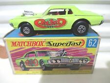 Lesney Matchbox 1970 MB62B Lime Mercury Cougar Dragster Rat Rod Lbls +5SpokeWhls