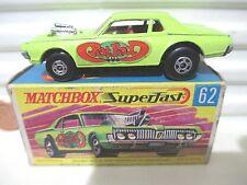 Lesney Matchbox 1970 MB62B Lime Mercury Cougar Dragster Rat Rod Lbls +5SpokeWhls