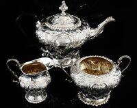 Antique Silver Teaset, Walter & Charles Sissons, London 1896, Irish Retailed