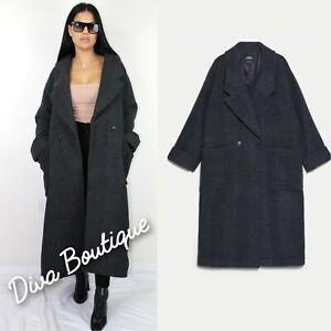 Zara MAXI OVERSIZE WOOL COAT Size L Free P&P Brand new