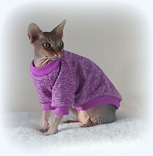 long sleeves MARL PURPLE cat jumper for a Sphynx  cat, cat clothes, sweater