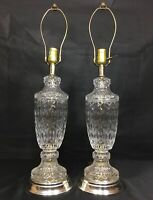 "Vintage Pair Crystal Clear Glass Electric Table Lamps 20"" Brass Silver Tone Base"