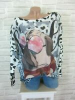 Oversize ITALY Strick Shirt Pulli Pullover Tunika Print 38 40 42 NEU P513