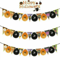 Halloween Flag Bunting - Decoration Banner Pennant Party Bat Pumpkin Ghost Skull