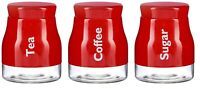 Set of 3 Red Glass Tea Coffee Sugar Canister Caddy Set Large 900ml