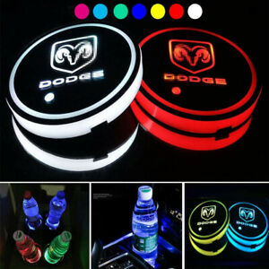 2PCS LED Car Cup Holder Lights Pad For DODGE Interior Atmosphere Lamp Lights