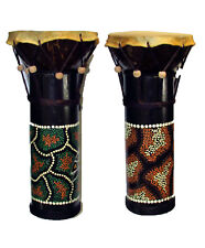 Hand Painted Bamboo and Coconut Small Djembe Style Drum World Bongo Kids Hide