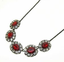 Sparkling Red and Clear Crystal Statement Necklace - NEW