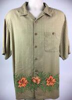 Boca Classics Mens XL Hawaiian Camp Shirt Button Front SS 100% Silk Floral