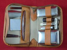 Vintage German shaving travel kit set + leather case Original