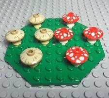 Lego X8 New Bulk Red / Tan Mushroom Mini Figures Plants W/ Green Octagon Plate