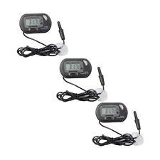 3 pcs Lcd Digital Fish Aquarium Thermometer Water Terrarium Black Free Batteries