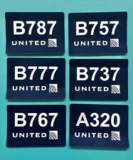 6 UNITED AIRLINES STICKERS — BLUE IN COLOR