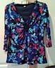 STYLE & CO Women's Sz M Embellished V-Neck Mesh Floral Shirt Blouse 3/4 Sleeve
