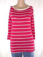 benetton maglia donna rosso righe manica 3/4 taglia s / m small medium