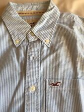 Mens Hollister Light Blue And White Stripe Long Sleeve Shirt Size Small Vgc