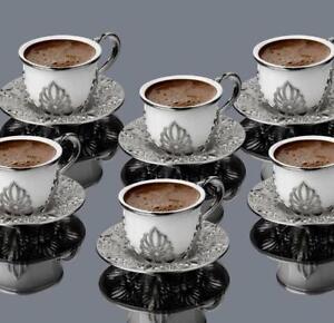 Coffee Set Silver Metal Cast decorative Colored Six-Person Espresso Cups