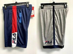 New Fila Boys' L,XL Youth Boys 2-pack Shorts Navy Gray Logo Side Pockets