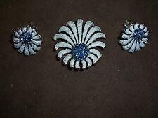 Silvertone Pin & Ear Clips w/Cobalt Blue Crystals by Trifari c.1950's