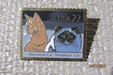Vintage- Usps Abyssinian & Himalayan Cats Postage Stamp Pinback Metal Pin