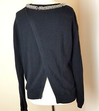 Topshop Ladies 100%Cotton  Open Back Sequins Neck Jumper Sz 14 Bloggers