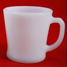 Fire King Anchor Hocking - Vintage Coffee Mug - Solid White Milk Glass D Handle