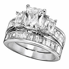 Bridal Ring 925 Sterling Silver Womens Day Simulated Diamond Three-Stone