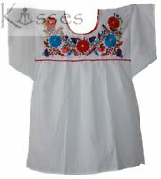 Mexican Peasant Blouse Hand Embroidered Top Colors Vintage Style Tunic White