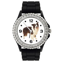 Border Collie Dog Crystal Rhinestone Mens Ladies Silicone Bracelet Watch SG142P
