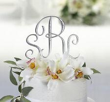 9 cm Cake top iniziali logo nomi sposi argento strass torta matrimonio lettere