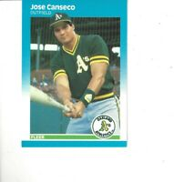 1987 Fleer Jose Canseco #389 Oakland Athletics Baseball Card
