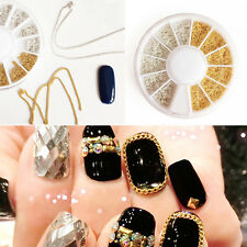 1 Box 3D Nail Art Decoration Manicure Gold Silver Metal Chain Design 20-25cm DIY