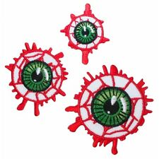Set of 3 Bloodshot Eyeball Patches Kreepsville Blood Horror Fan Iron-On Applique
