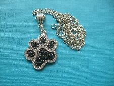 Dog Paw Print Rhinestone Necklace & Pendant Puppy Metal Chain Silver Tone Black