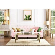 Novogratz Sofa Vintage Tufted Sleeper II Home Living Room Furniture Pink Velour
