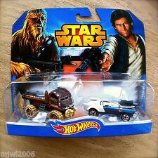 Disney STAR WARS Hot Wheels CHEWBACCA & HAN SOLO diecast Mattel INTL CARD 2pk