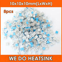 8pcs Small Tiny Cube 10x10x10mm Aluminum Heatsink For IC CHIPs With Thermal Tape