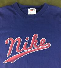 Vintage Mens 90s Nike Swoosh Classic Blue Graphic 100% Cotton T-Shirt L Large