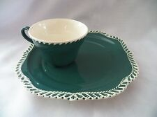 VINTAGE HARKER POTTERY CORINTHIAN TEAL GREEN CUP & SNACK PLATE SET