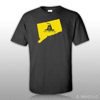 Connecticut State Shaped Gadsden Flag T-Shirt Tee Shirt Free Sticker CT