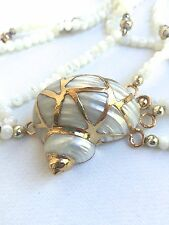 Vintage 4 Four Strand Mother of Pearl Gold Dipped Shell Conch Necklace Artistic